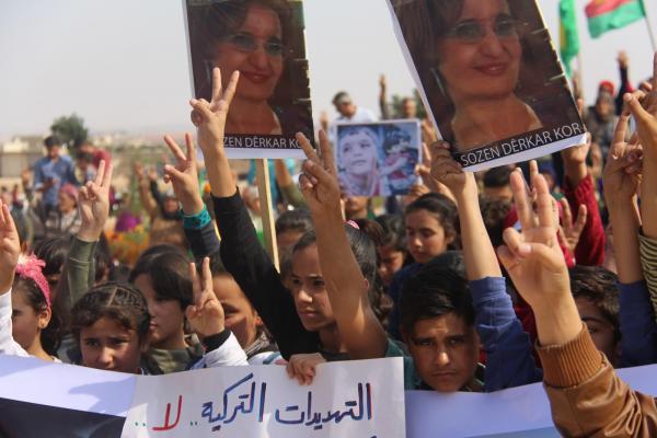خلال التظاهرة: نطالب بطرد الاحتلال التركي من مناطقنا