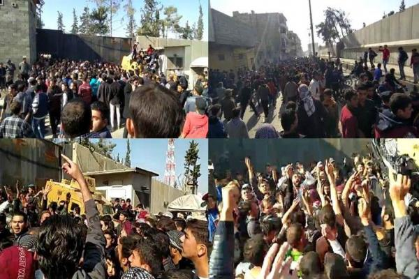 أهالي مدينة الباب المحتلة يضربون ويتظاهرون احتجاجاً على الفلتان الأمني