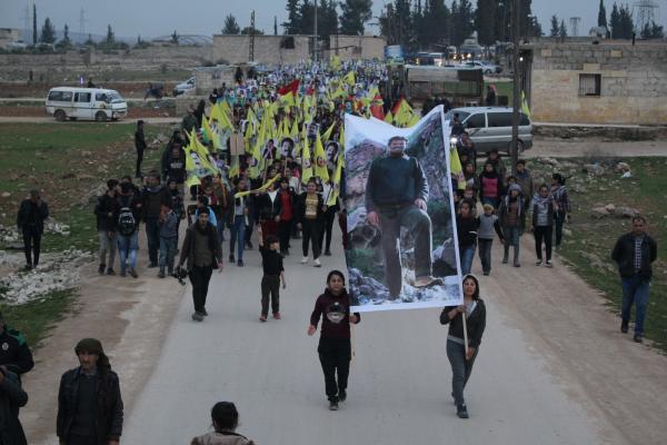 تظاهرة للشبيبة في مقاطعة الشهباء للمطالبة بالكشف عن وضع أوجلان