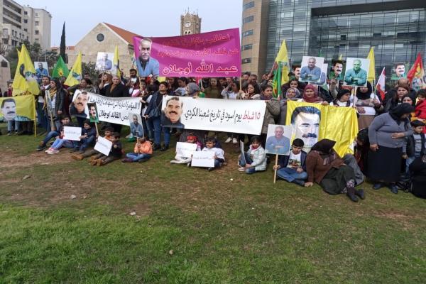 اعتصامٌ للجالية الكرديّة أمام مقرّ الأمم المتّحدة في بيروت من أجل أوجلان