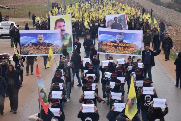 تظاهرة الشهباء... الحريق حدث نتيجة سياسات تركيا القذرة بحق أوجلان