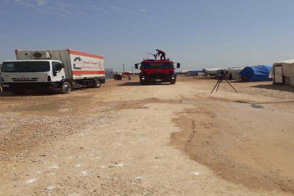 تعقيم منطقة أبو خشب ومخيم النازحين