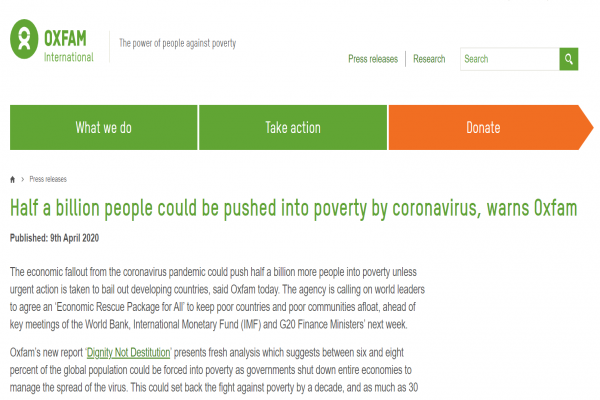 منظمة خيرية عالمية: فيروس كورونا يدفع بنصف مليار إنسان إلى براثن الفقر
