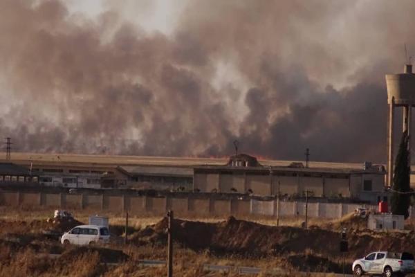 توسع رقعة الحرائق التي افتعلها جيش الاحتلال بريف تل تمر وزركان
