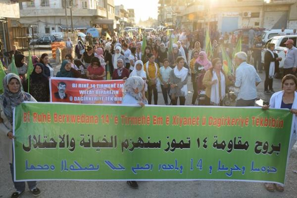 مسيرة حاشدة في عامودا تحيي مقاومة حفتانين و14تموز وتستنكر هجمات الاحتلال
