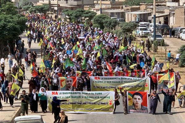 Thousands demonstrate in Qamishlo against Turkey's threats in N, E of Syria
