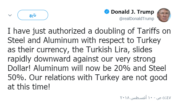Trump doubled customs duties on Turkish imports