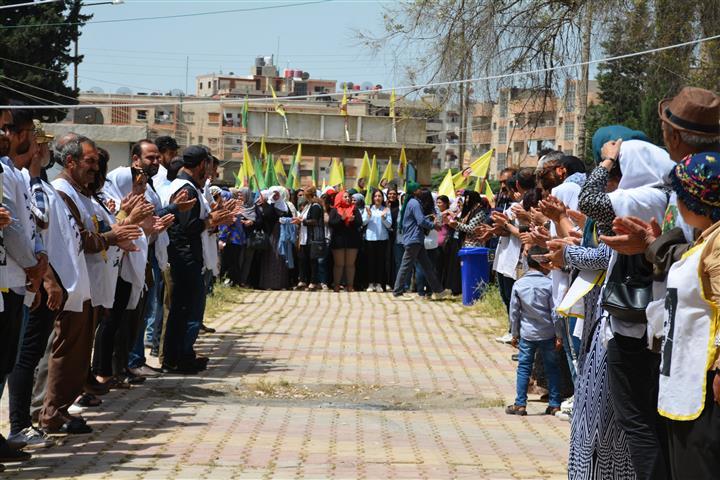 Tirbe Spiyê people take shift at hunger strike tent