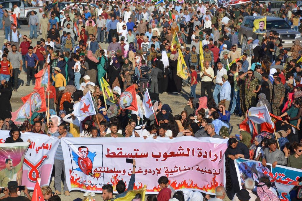 Thousands of Syrians protest the Turkish aggression on Afrin and southern Kurdistan