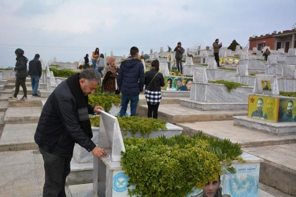 PYD youth in Resistance Campaign lit candles on tombs of martyrs