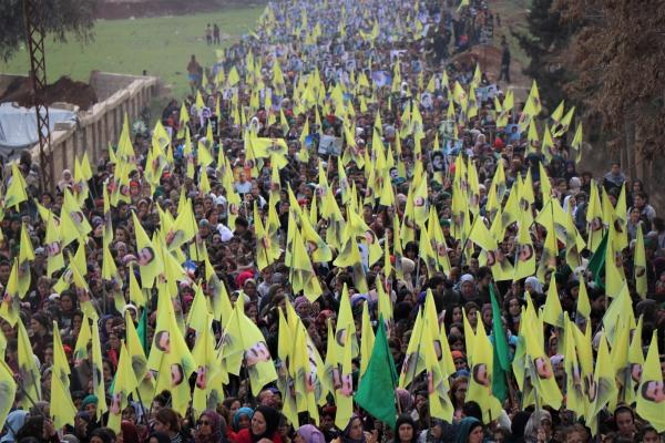 Thousands rise in Afrin, al-Shahba for leader Ocalan