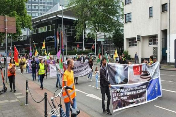 Demonstration in Germany, rejecting Turkish attacks on Başûr and Rojava