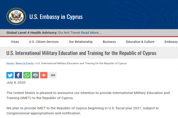 Washington announces the international military support program for Cyprus