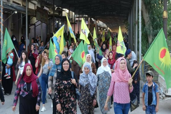 March in Derik commemorating July 14th martyrs, condemning Turkish attacks