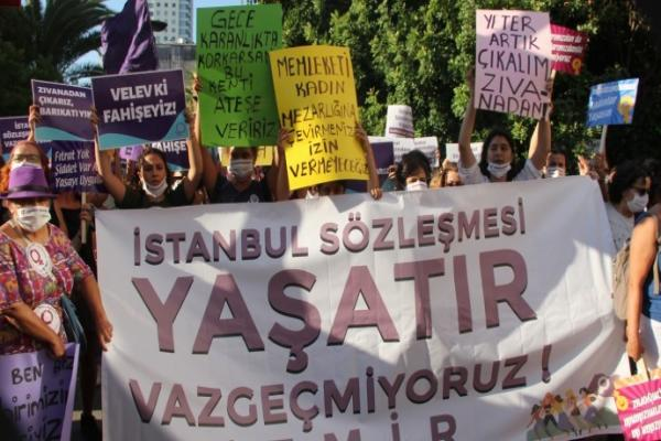 In response to cancellation of the Istanbul Agreement ... Women continue to protest