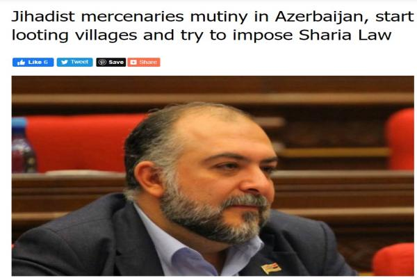 Armenian MP: Syrian mercenaries in Azerbaijan loot villages and impose extremist ideology