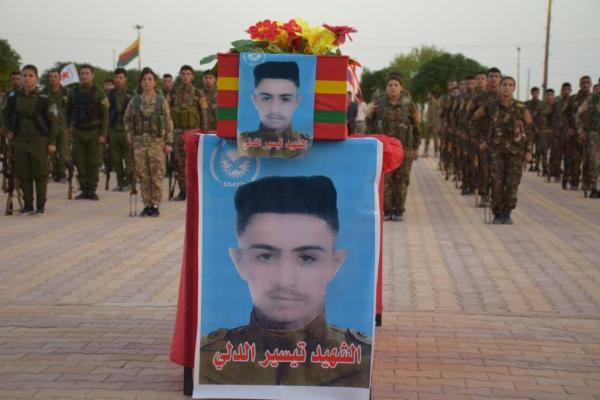 Al-Hasakah people bid farewell martyr Tayseer al-Dalli's corpse
