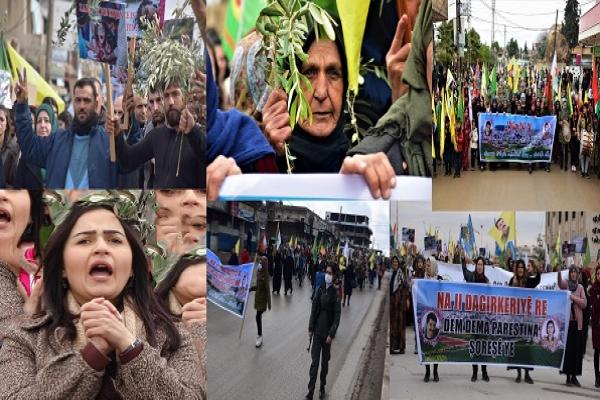 Mass demonstrations in al-Jazira region to condemn attacks on Afrin