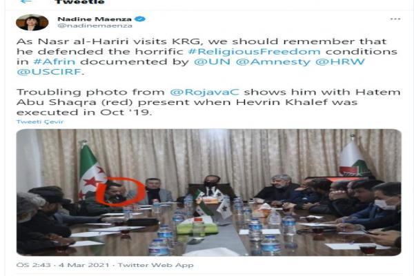 Nadine Maenza: Al-Hariri's presence in Kurdistan is dangerous, shameful
