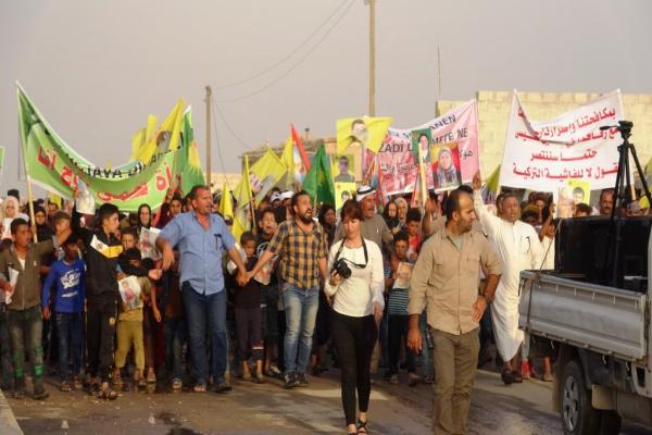Mass demonstration in Haisha town condemning Turkish massacre in Safawiyeh