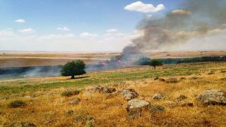 Turkish soldiers set fire to Kel Hasnak lands
