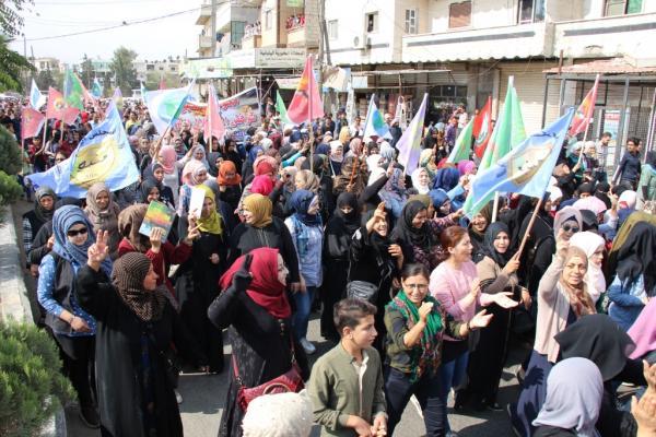Minbic'de binler işgal saldırılarına karşı yürüdü