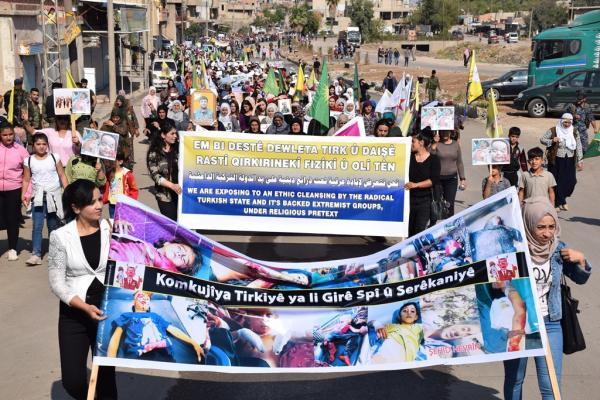 Dêrik'te Türk işgal saldırılarına karşı eylem