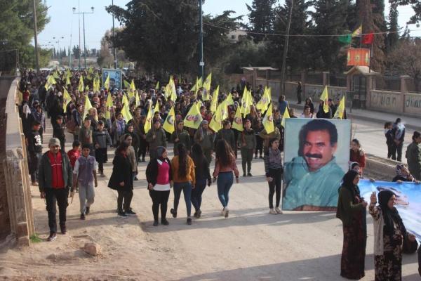 Dirbêsiyê halkından Önder Öcalan için kitlesel yürüyüş