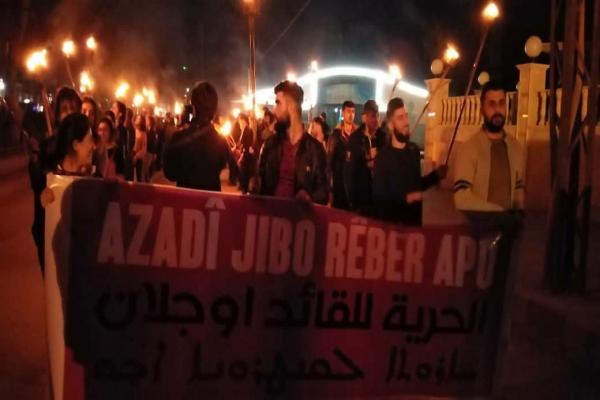 Qamişlo'da Öcalan için meşaleli yürüyüş