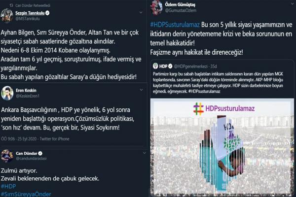 HDP'lilerin gözaltına alınmasına sosyal medyadan tepki yağdı