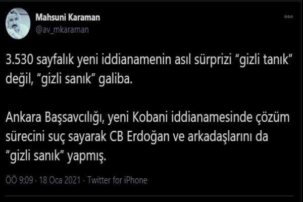 Demirtaş'ın avukatı: Erdoğan gizli sanık oldu